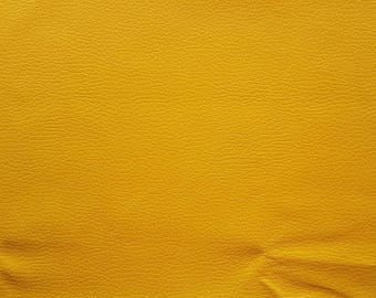A4 sheet of dandelion yellow faux textured leather leatherette (thin)