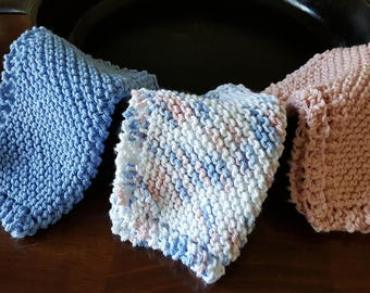 Hand Made, Hand Knit Dishcloths, Washcloths, Knitted, Cotton