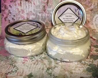Whipped Body Butter, Organic raw unrefined Shea Butter, Coconut Oil, Sweet Almond Oil, Vitamin E, Essential Oils
