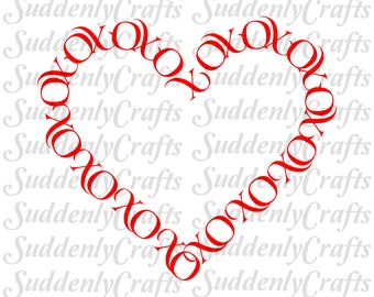 Hugs and Kisses Heart Border SVG