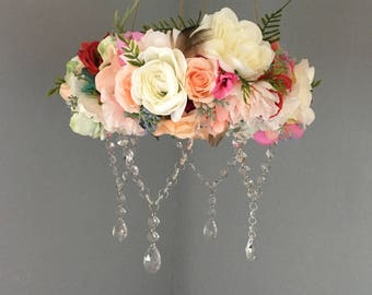 Flower Mobile, Boho Mobile, Floral Mobile, Flower Chandelier, Floral Chandelier, Crystal Mobile, Bohemian Nursery, Newborn Photography Prop