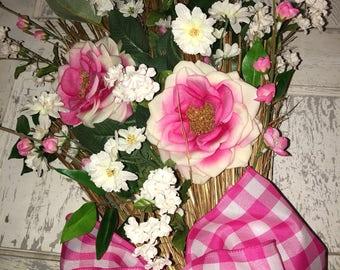 CLEARANCE Summer Door Wreath, Spring Door Decor, Pink Door Decor