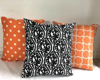 SALE  Pillow covers Cotton Pillows Decorative  pillow Black and orange pillow cover 18 x18, 16X16, 14x16, 14x14, 12x16, 12x12, 10x10