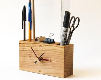Modern Wood Desk Clock, Handmade Desk Organizer, Recycled Wood Clock, Pencil Holder, Wood Desk Accessories, Wooden Clock, Office Decor, Desk