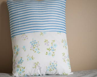 Floral and Striped Reclaimed Fabric Throw Pillow