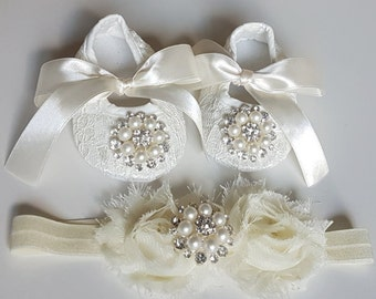 Ivory Baby Crib Shoes and Headband, Christening Shoes