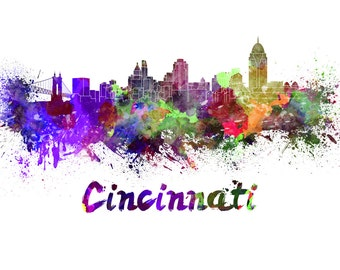 Cincinnati skyline watercolor canvas, Cincinnati Canvas Print, Cincinnati wall art, Canvas Wall Art, Watercolor Skyline, Gift Ideas, Ohio