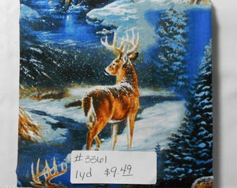 Fabric - 1yd piece-Wintergreen-Blue Winter White Tailed Deer Scenic/Buck/Hunting/Wildlife/Outdoors/pine trees (#3361) Wild Wings 53274