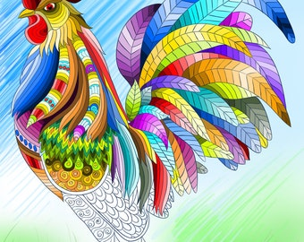 Farm Animal Coloring Page For Calm, Relaxation, and Stress Relief - Adult Coloring Book Art Page Print Instantly