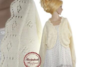 Hand knitted handmade romantic vintage Bolero Schult er jacket new size. 42 44 L