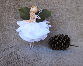 Christmas Fairy Tree Topper, White Angel Tree Topper, Christmas Ornament, Flower Fairy Doll, Handmade Fairy Doll, Birthday Fairy Cake Topper