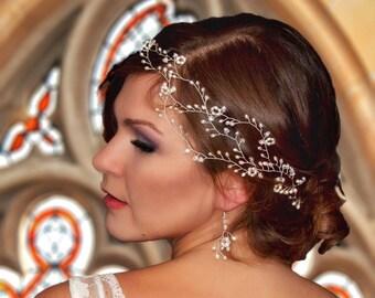 White Bridal fresh water pearls Hair vine , Headband and pins, mixed with Swarovski crystals