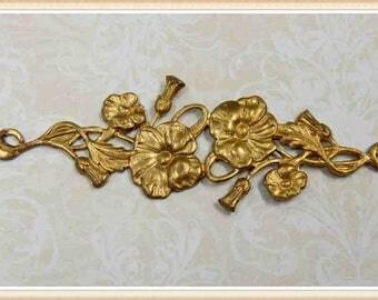 1 piece raw brass morning glory flower scroll victorian embellishment ornament E144