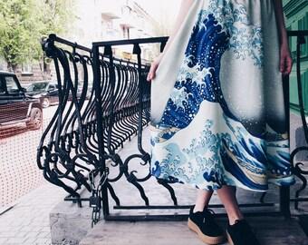 The Great Wave off Kanagawa Katsushika Hokusai painting skirt, midi skirt, maxi skirt, pencil skirt