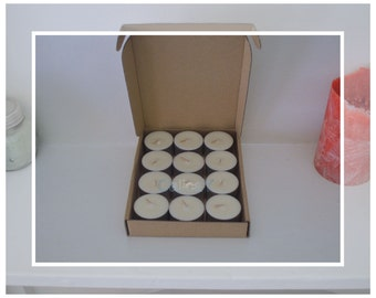 12x Hand Poured Soy Wax Tea light Candles (9 Hour Tealights) - Tobacco Bergamot