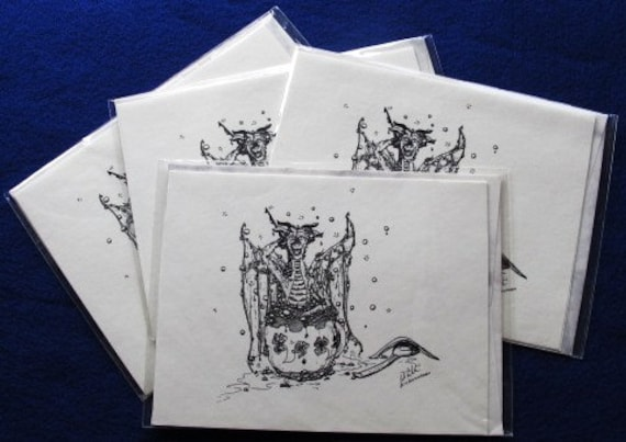Teacup Bathing Dragon: Set of 4 4.25x5.5 blank cards with envelopes
