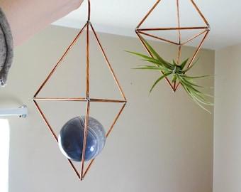 Geometric Copper Wall Hanger - Large Airplant Terrarium