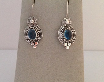 Sterling Silver Blue Cabochon Earrings, French Wire Earrings, Sterling French Wire Earrings, Pretty Blue Stone