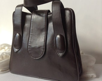 Vintage Chocolate Brown 1950s Small Faux Leather Top Handle Handbag / Mad Men Style