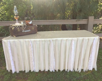 Rustic Burlap and Lace Tablecloth