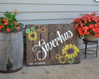 Personalized Welcome Signs With Sunflowers