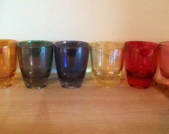 Set of Six Vintage Iridescent Shot Glasses