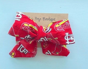 CARDINAL, headwrap, headwraps, fabric headband, big bow, one size, st louis cardinal bow, st louis headwrap, st louis cardinal bow, hair bow