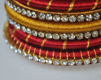 Bridal Silk Thread Bangles gold and maroon size 2.8 and purple size 2.6