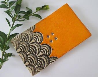 orange soap dish, ceramic soap dish, patterned soap dish, soap dish handmade, handmade pottery, orange pottery, soap bowl, soap holder