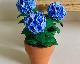 Dollhouse Miniature Blue Hydrangea in Pot Artist Made