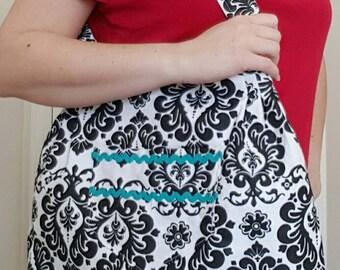 Large tote bag, damask bag, large purse, adjustable strap, lined purse, gift for her, zipper pocket, pleated bag, shopping bag, shoulder bag