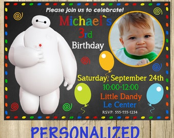 Big Hero 6, Baymax - Invitation, Baymax - Birthday Invite, PERSONALIZED, Digital File