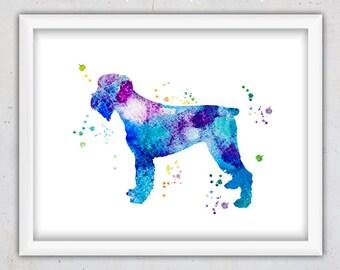 Watercolor Dog Wall Poster, Schnauzer Print, Blue Dog Print, Instant Download Printable, Animal Nursery Print, Abstract dog art Print, Pet