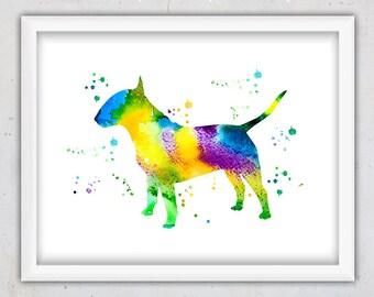 Bull Terrier Print, Abstract Dog Art, Animal Nursery Print, Dog Print, Watercolor Digital Print, Printable Wall Art, Instant Download Art