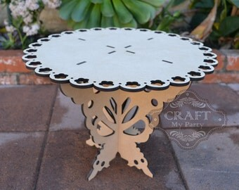 """14"""" Round Cake Butterfly Stand *Free Shipping* -MDF Wood- Wedding, Birthday, XV años, Sweet 16, Banquet, Baptism, (BS03)"""