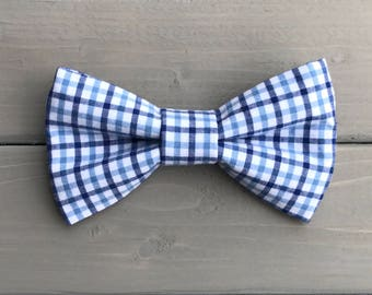 Blue gingham dog or cat bow tie