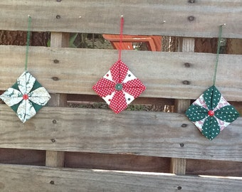 Set of 3 Cathedral Window style fabric Christmas ornaments