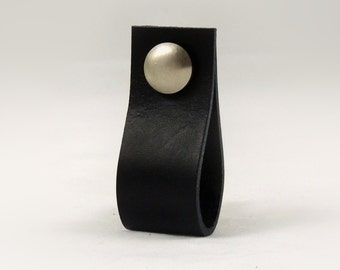 Leather pull, Matte Silver screwhead, Leather straps, Leather handle, Leather knob, knobs, Cabinet, Drawer, Dresser, Leather loops, Loop