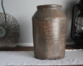 Antique Brown Crock, Urn, Farmhouse Decor, Pottery Vase, Primitive, Rustic Decor
