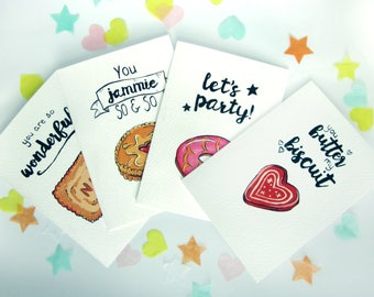 Biscuit Birthday Card Set, Funny Illustrated British Biscuit Cards, Blank Cookie Card Set, Card For Foodie, Baker, Cook, Bake Off Cards