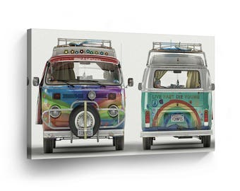 Classic Volkswagen Van Hippie Front and Back Canvas Print Home Decor / Old Vintage Bus / Camper/ Wall Art Gallery Wrapped /Ready to Hang