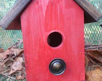 Birdhouse Red with Knob Perch