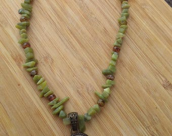 Olive Jade necklace with pendant