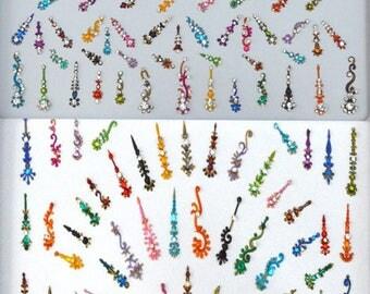 2 Packs Mixed Designer Bindis, Multicolored Bindi,Wholesale Curved Shape Bindi, Desinger Bindi, Face Gems, Bindis, Handpicked Designer Bindi