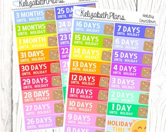 Holiday Countdown | Vacation, Summer, Holiday, Break, Planner Stickers