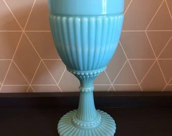 Antique Sky Blue Victorian, Edwardian Milk Glass Drinking Goblet - ribbed, pressed moulded decoration