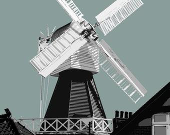 Wimbledon Common Windmill, Wimbledon Common Litho Style Print, A4 Print, London, Wimbledon SW19