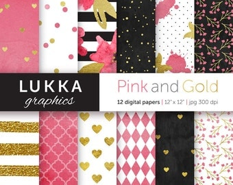 Pink and gold digital paper pack; digital patterns; watercolor flowers, gold hearts, gold stripes, dots, pink quatrefoil