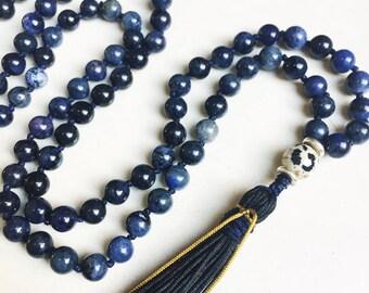 Dumortierite Mala Necklace | Mala Beads | 108 Mala Beads | Mala Jewelry | Prayer Beads | Meditation Beads | Boho Jewelry | Tassel Necklace