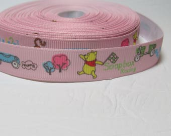 "Grosgrain ribbon 5/8"" winnie the pooh on pink, white or blue background sold by the yard"